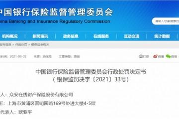 众安财险四项违法行为被罚145万元相关责任人被警告并罚款